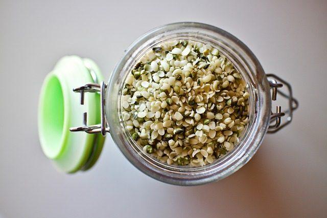 Geschälte Speisehanfsamen von Nutzhanfpflanzen zum Verzehr in Müslis und Salaten oder zum Kochen und Backen